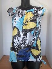 I-N-C Blue Yellow Black CAP SLEEVE FLOWING BLOUSE SHIRT~22% Rayon~Women's Large