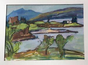 1950s Original Gouache Painting. Thelma Tinker. Coastline & Mountains, Scotland