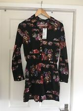 4b8736a93ea Boohoo Black Floral Shirt Style Playsuit Size 10 New With Tags