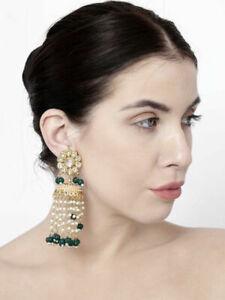 Indian Bollywood Green Pearl Long Jhumki Jhumka Earrings Ethnic Fashion Jewelry