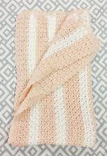 "Handmade Colorful Crochet Afghan Throw Blanket 24"" X 46"" Baby Blanket White Pink"