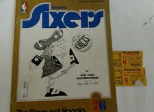 Vintage NBA 1972 76ers Vs Knicks Spectrum Program W/2Tickets RARE