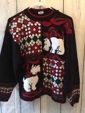 Ugly Sweater M Or L Scottish Terrier Dog  Red Green Black Women's Vintage