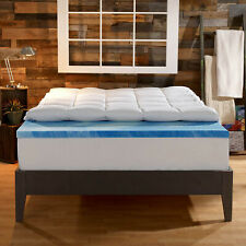 Gel Memory Foam Bed Mattress Topper Pad 4 inch Dual Layer King Size Bedroom Home