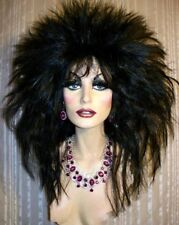 """Drag Queen Wig Big New """"Tina"""" Style Spiky Black"""