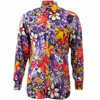 Regular Fit Long Sleeve Shirt Loud Originals Purple Tropical Floral Psychedelic