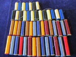 "49 spool Pure Silk Thread Vintage Glossy Colorful Lot Each 2""x5/8"" Unused D11"