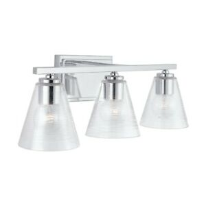 Capital Lighting 3-Light Vanity, Chrome/Clear Embossed Spiral - 138333CH-493