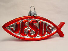NOS Blown Glass Jesus Fish Xmas Tree Ornament Handmade Ichthys Cross Christian