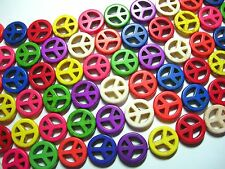 Peace Sign Beads - Turq Howlite 15mm, 15 inch strand