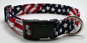 USA Flag Waving Patriotic Dog Collar  Adjustable Handmade Custom Designer