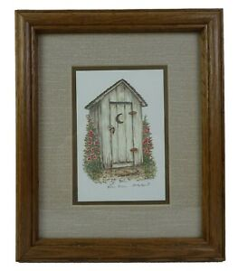 Marty Fyne Outhouse 5 x 7 Print - Star Gaze - Moon Rise - Matted 8x10 Wood Frame