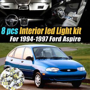 8Pc Super White Car Interior LED Light Bulb Kit for 1994-1997 Ford Aspire