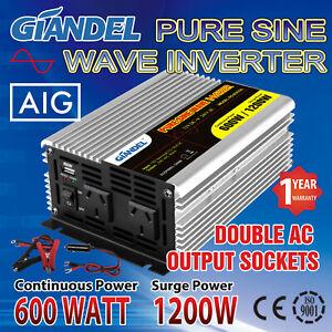 Giandel Power Inverter 600W 1200W Max 12V DC to AC 240V + Car Plug Cable