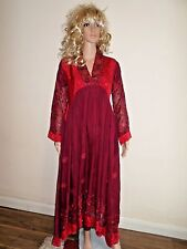 UK 10 EID PARTY GRADUATION BALL GOWN EMBROIDERED MAROON  CHIFFON WEDDING INDIAN