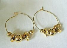 """VINTAGE LARGE HOOP EARRINGS WITH BALLS 1.5""""  FREE MOVING BALLS AND CHARMS"""