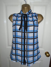 NEW Atmosphere Checked Sleeveless Tie Blouse Size 6
