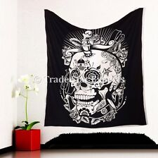 Hippie Skull Tapestry Bohemian Wall Hanging Queen Psychedelic Wall Throw Decor