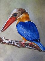 Painting Colored Bird Tree Branch Nature ACEO Art .