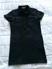 Women's Top Shop Black Leather Effect Top Dress Shirt UK 6
