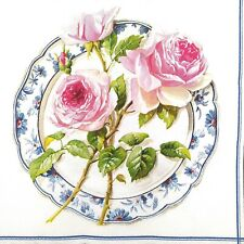 N756# 3 x Single Paper Napkins For Decoupage Pink Roses & Peony Flowers on Plate