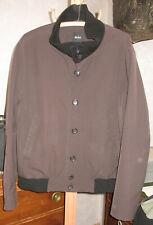 Mens 50 Hugo Boss Cali Dark Cocoa Brown Black Collar Casual Coat Jacket