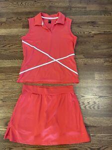 Slazenger Womens Tennis Golf Outfit Set Skirt Top Coral Medium EUC