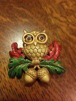 Fab Vintage MCM Owl Bird Brooch Pin Gold Red & Green Enamel PP