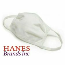 Hanes Washable Wicking Cotton Facemask, White - 5 Pack