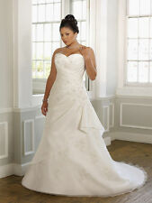 Elegant Plus Size White/Ivory Satin Wedding Dress Bridal Gown Custom Made All Sz