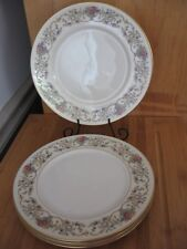 Lamberton Ivory China DOROTHEA Luncheon Plates Floral Scrolls Gold made USA 4