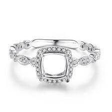 Semi Mount Cushion 6x6mm Halo Real Diamonds Vintage Ring Setting 14k White Gold