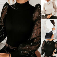 Women Tulle O Neck Frill Mesh Puff Long Sleeve Party Tee Shirt Ladies Top Blouse