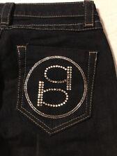 Bebe Women's Jeans Bootcut Jeweled Stretch Dark Blue Size 25 X 34
