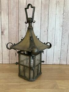 Antique Arts & Crafts Brass/Glass Hanging Hall Light Porch Lantern - Vintage