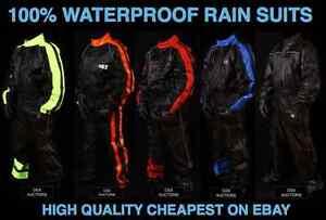 OSX Waterproof Hi Viz One Piece Rain Suit Motorcycle Motorbike Skiing 129f