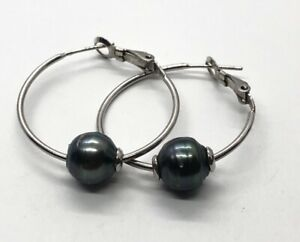 Sterling Silver Earrings 925 Hoops Black Pearl Tahitian