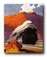 Vintage Mountain Express Train Wall Decor Art Print Poster (16x20)