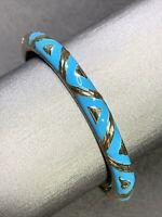 Vintage Turquoise blue Enameled Hinged Cuff Bangle Bracelet Gold Tone