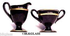 Majestic Black Glass Creamer And Sugar Gold Trim  Cambridge
