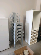 Dining Chairs Grey Powder Coated x 6