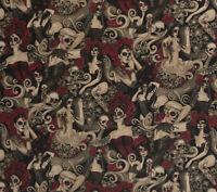 "Alexander Henry Las Elegantes Halloween Fabric  18"" X 44"" Cotton Made in Japan"