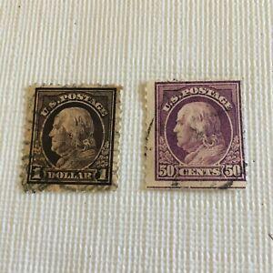 1912 Set of 2 Benjamin Franklin Stamps 50c Violet & $1 Brown - used
