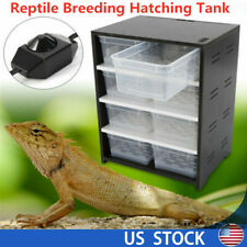 Reptile Feeding Box Breeding Hatching Tank Insect Spider Turtle Cage & Heat Pad