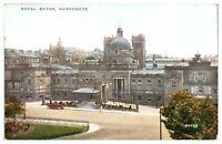 Antique printed postcard Royal Baths Harrogate car figures