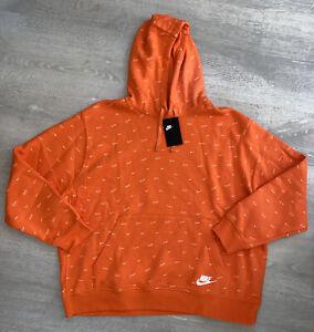 Nike NSW Club AOP Print Pullover Hoodie Electro Orange NYC DC2767-837 Mens Large