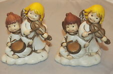 2 Vintage Christmas Angels Playing Instruments Candle Holders Korea