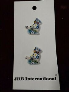 Vintage Sewing Craft Cat Flower Mosaic Buttons ~ Made in Germany ~ Kitten Kitty