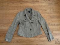 New Alfani Beige Linen Metallic Women's 12 Collared Button Up Cropped Jacket