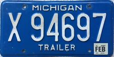 GENUINE Michigan USA Great Lakes Trailer License Licence Number Plate X 94697